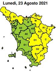 Meteo, codice giallo per precipitazioni lunedì 23 agosto