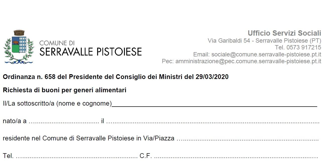 Contributi alimentari Covid-19 a Serravalle P.se