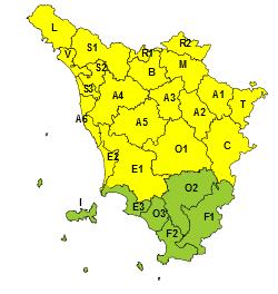 Codice giallo per temporali nelle aree settentrionali e centrali